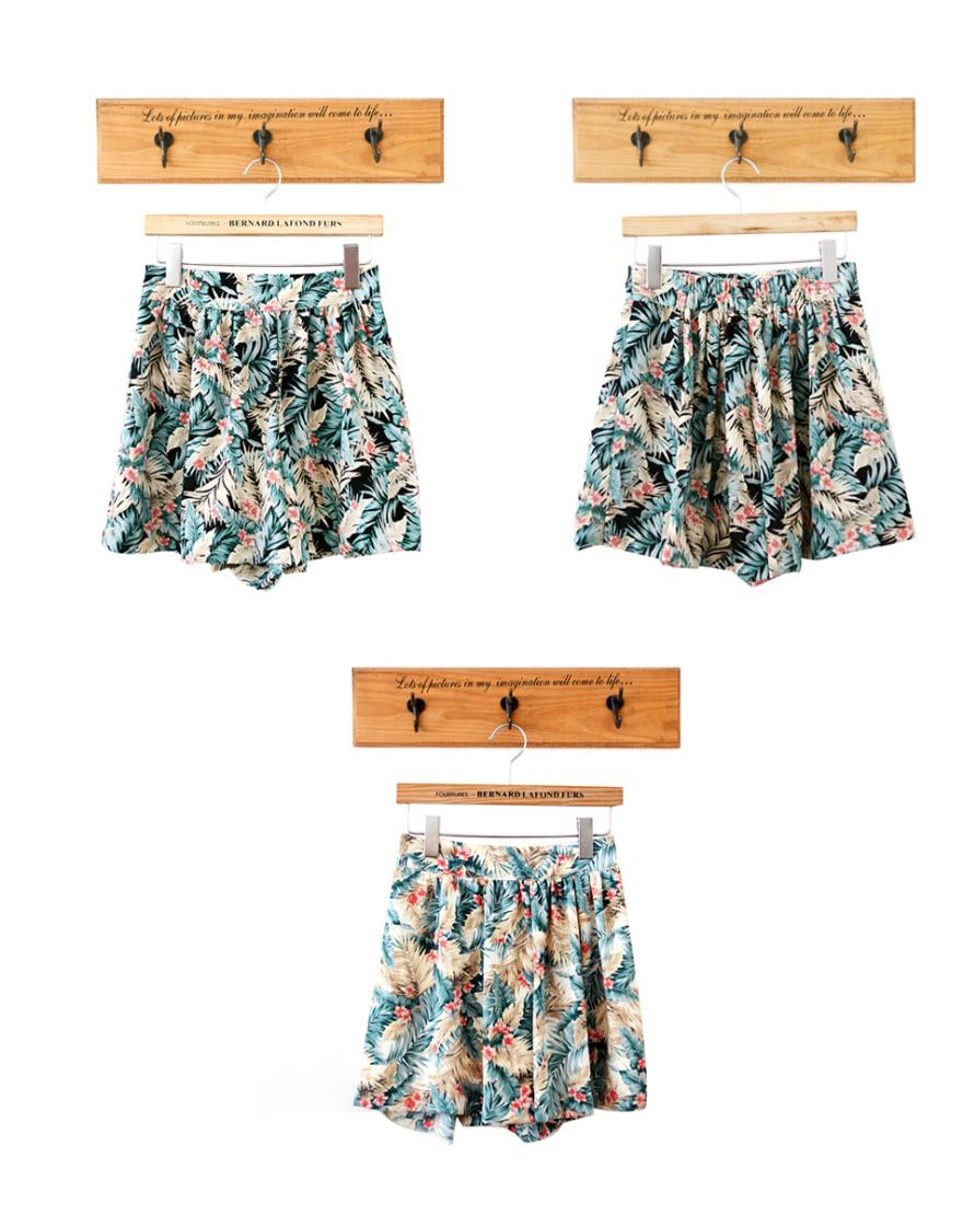 热带雨林椰树叶印花短裙裤