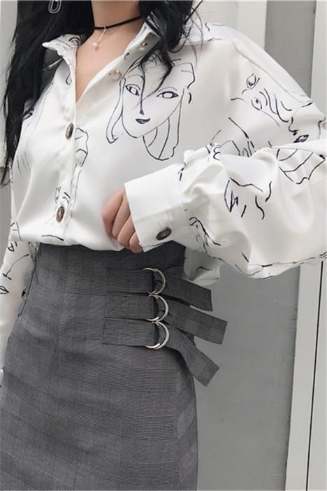 港味复古原宿风翻领长袖珍珠扣抽象简画中长款百搭白衬衫女上衣