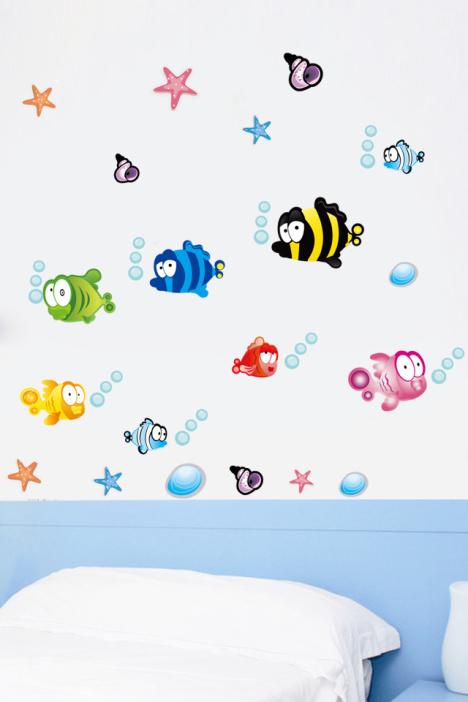 贴画壁饰,浴室卫生间贴纸,可爱小鱼装饰贴,幼儿园壁贴壁饰,创意环保