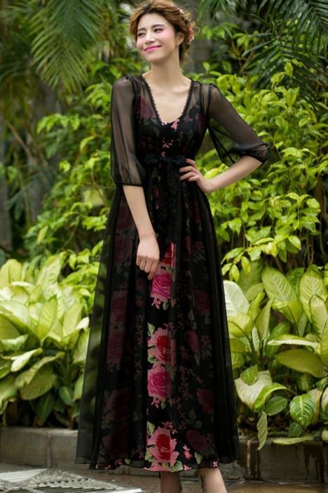 秋装新款,宫廷风,裙子套装,两件套裙,七分袖