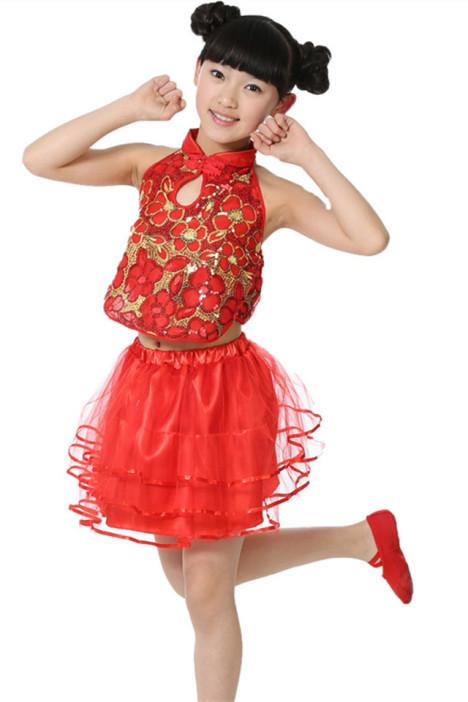 六一儿童演出服女童亮片纱裙幼儿园表演服装 新款民族古装跳舞裙