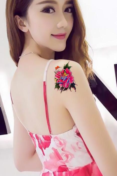 【2张】牡丹花蝴蝶防水纹身贴女款遮疤