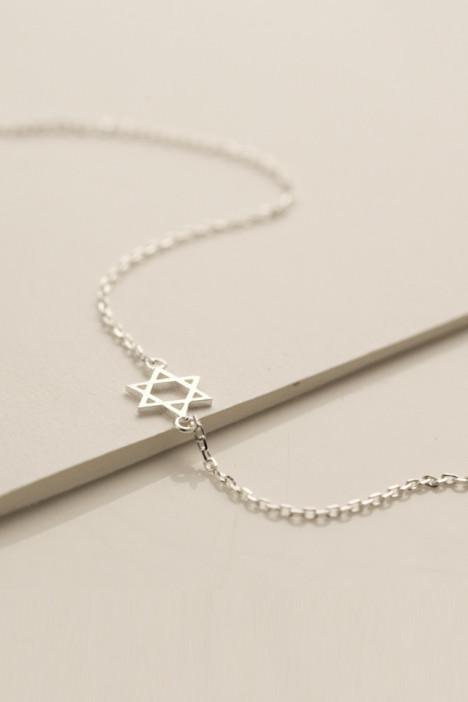 六角芒星耳钉,小清新 复古,韩国 韩版,925 纯银,项链 锁骨链