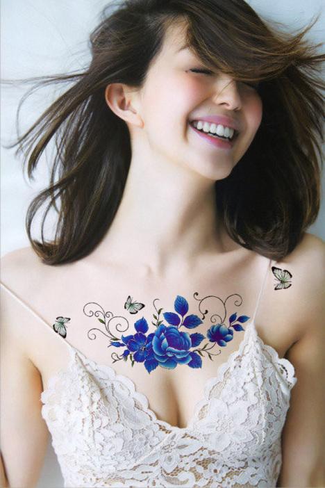 牡丹花玫瑰花梅花小碎花性感防水纹身贴 荷花花彼岸花古装写真贴