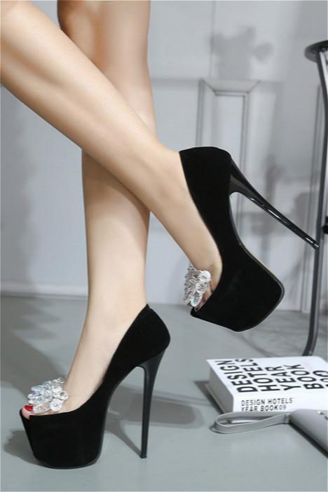 恨天高16cm韩范性感绒面拼接透明胶带水钻鱼嘴单鞋宴会高跟鞋