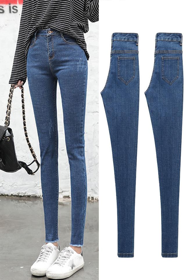 冬季新款加绒加厚牛仔裤子女高腰显瘦韩版百搭紧身黑色铅笔小脚裤