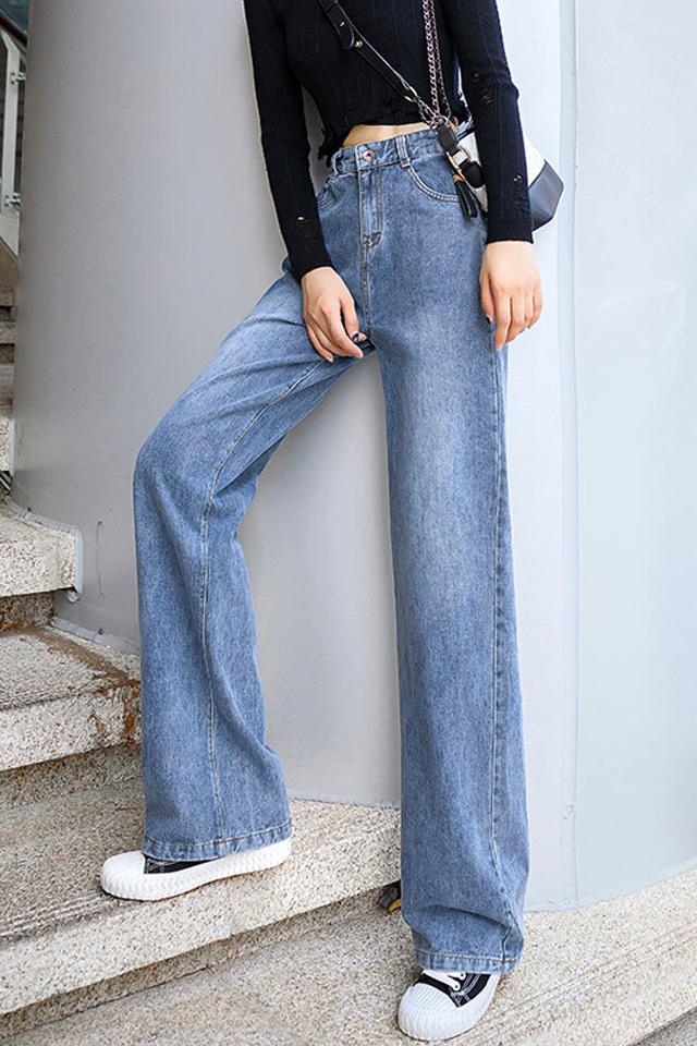 阔腿牛仔裤女裤子春秋季2021年新款宽松显瘦高腰垂感直筒长裤