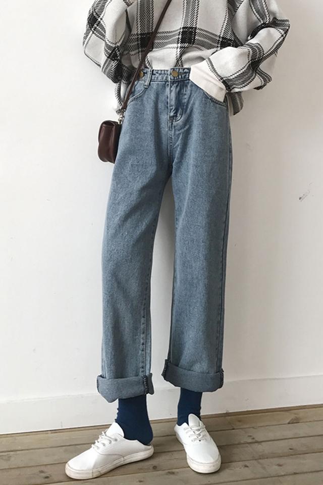 高腰牛仔裤女阔腿宽松显瘦百搭春季2021新款韩版大码直筒裤子