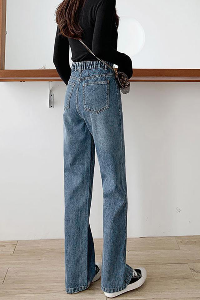 新款牛仔裤女春季2021年宽松显瘦老爹高腰阔腿裤女裤春秋破洞