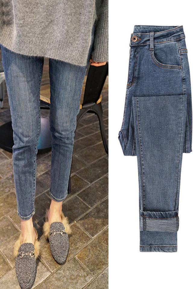 冬季加绒加厚高腰牛仔裤女新款小脚修身弹力显瘦韩版百搭紧身铅笔