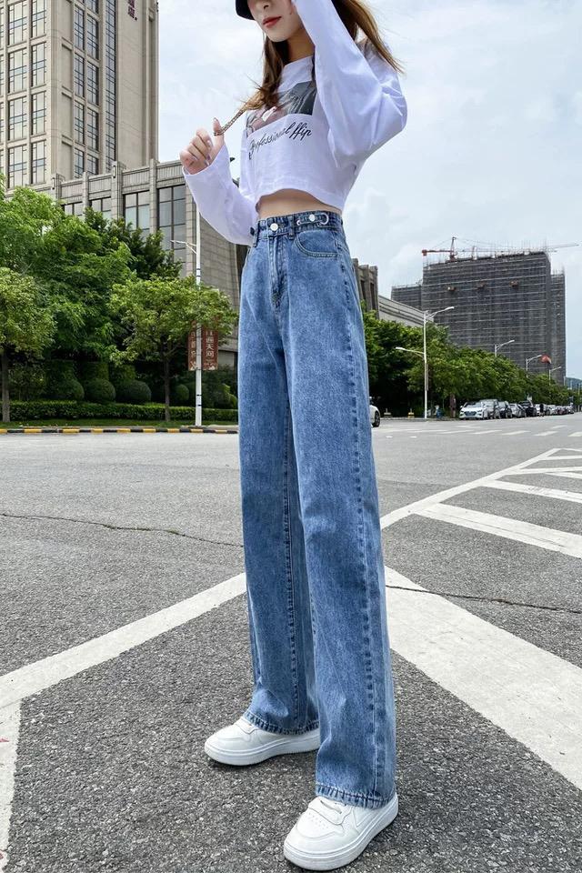 阔腿牛仔裤女2021年春季新款韩版宽松直筒高腰显瘦小个子百搭