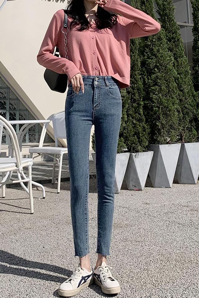 牛仔裤女裤春季2021年新款春秋高腰修身显瘦黑色紧身小脚裤子