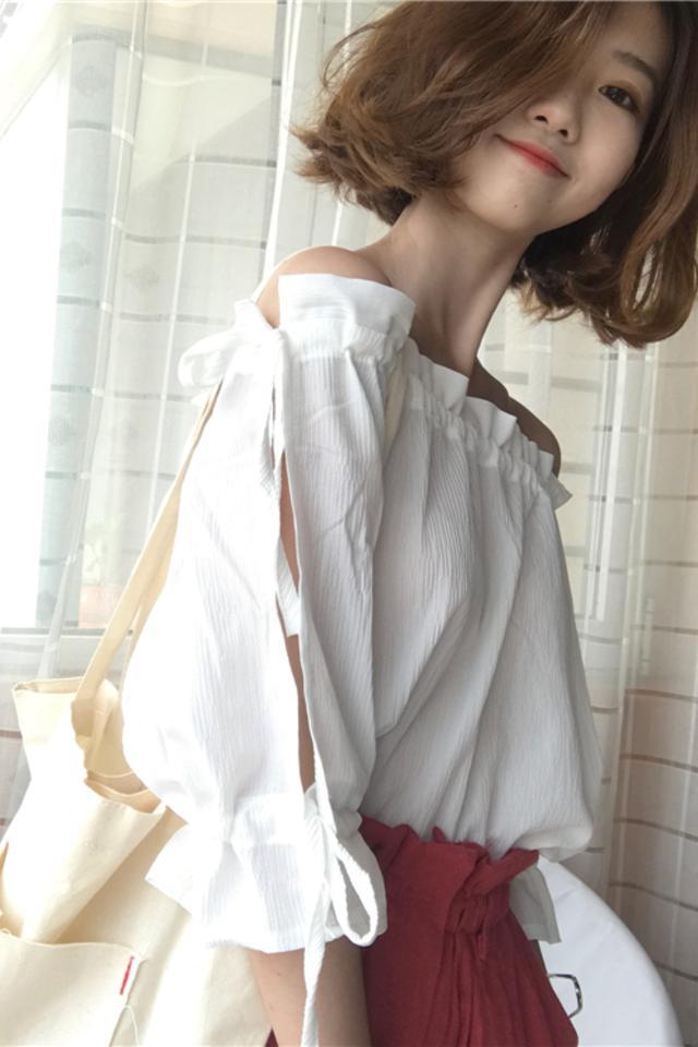 2020夏秋季新款百搭系带抽绳露肩雪纺上衣女小清新一字肩衬衫