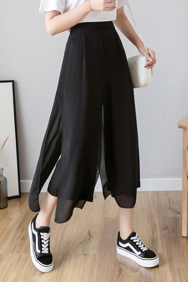 冰丝雪纺阔腿裤女高腰垂感夏季薄款七分裤裙2021新款显瘦洋气