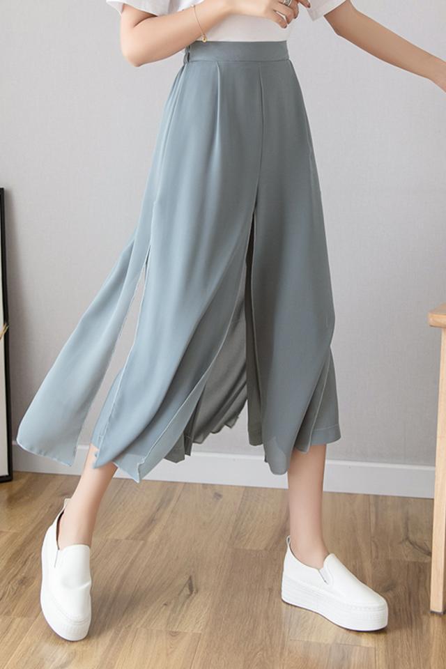 冰丝雪纺阔腿裤女高腰垂感夏季薄款七分裤裙2020新款显瘦洋气