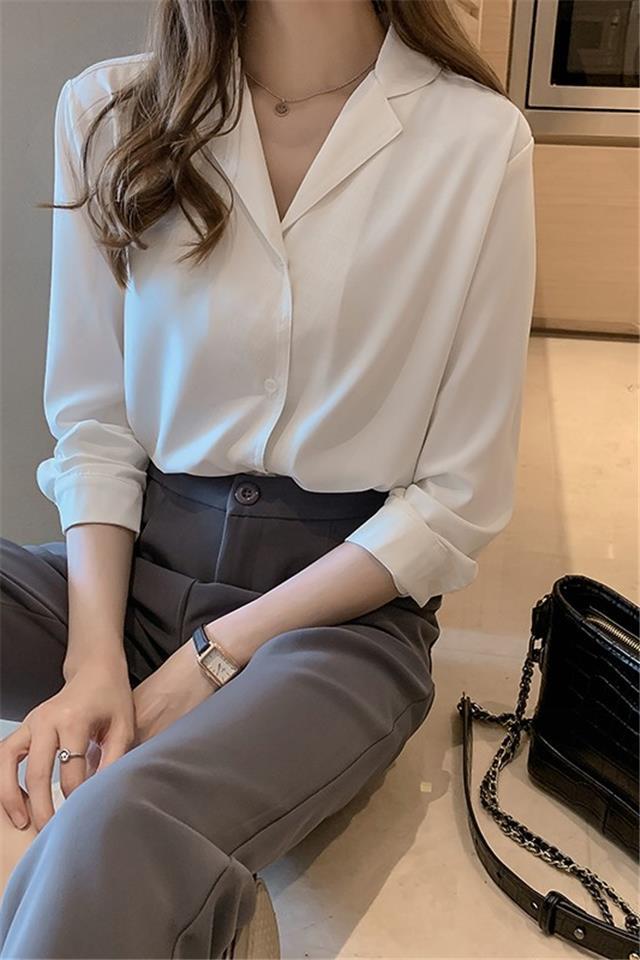 雪纺衬衫2020新韩气质设计感小众上衣宽松长袖白衬衣打底衫