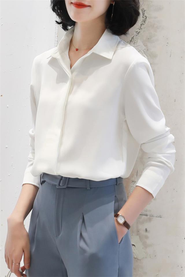 2020新款雪纺白色衬衫女长袖宽松百搭职业衬衣气质初秋上衣
