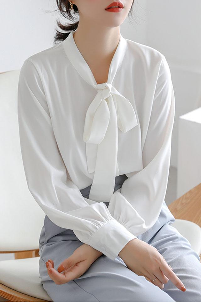 韩范新款雪纺衬衫女蝴蝶结系带气质时尚显瘦洋气百搭职业上衣潮