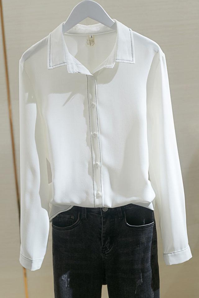 港味复古冷淡白色衬衫女2020春季新款韩版长袖宽松百搭雪纺衫
