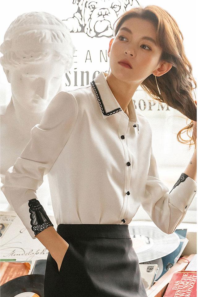 计感小众衬衫上衣女2020春季新款长袖韩版气质显瘦百搭雪纺衫