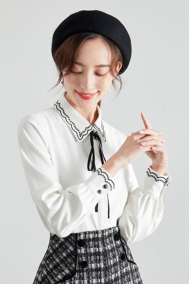 气质衬衫女2020新款雪纺时尚洋气百搭韩范蝴蝶结系带打底上衣