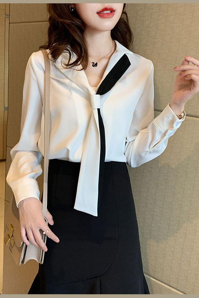 复古轻熟白色气质衬衫女2020春季雪纺长袖领带百搭洋气小众潮