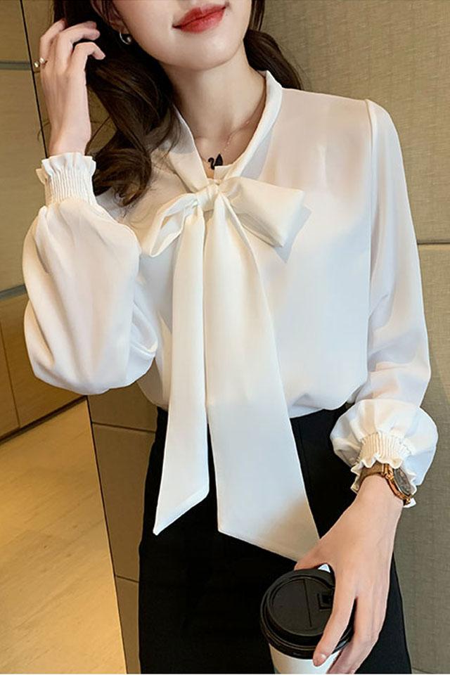 白色气质蝴蝶结雪纺衫女2020新款长袖宽松洋气百搭时尚衬衫潮