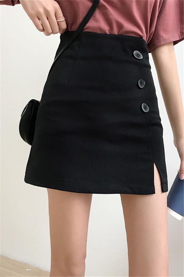 夏季新款韩版百搭修身开叉短裙高腰半身裙显瘦A字裙女学生包臀裙
