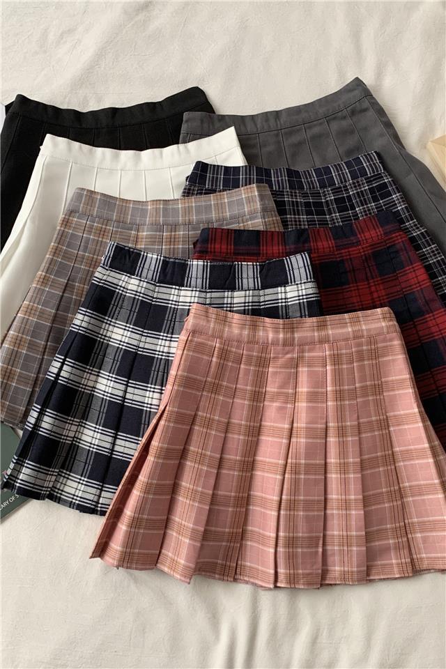 直播2020早春新款百褶裙短裙女夏学生韩版百搭格子半身裙