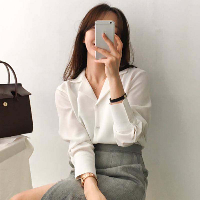 早春新款韩版职业百搭西装领宽松简约垂感雪纺长袖白色衬衫女