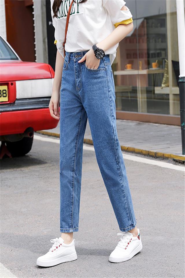 AA八九分直筒牛仔裤女宽松新款显瘦松紧高腰浅色2020款春装