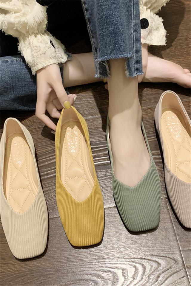 针织鞋晚晚鞋百搭网红夏款平底学生玛丽珍奶奶鞋搭半身裙的鞋夏季