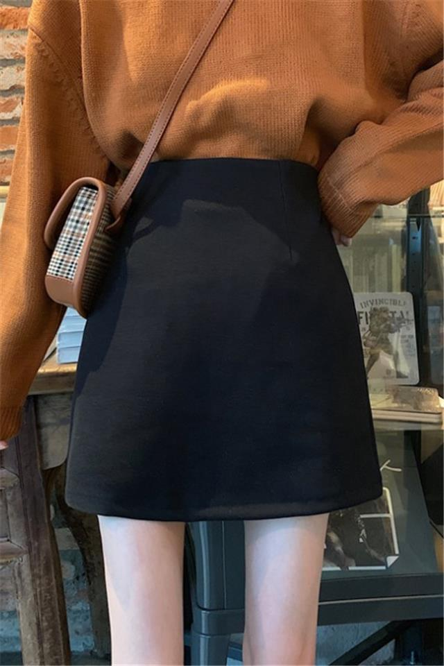 秋冬2020新款韩版黑色高腰打底半身裙女a字呢子学生短款包臀裙子