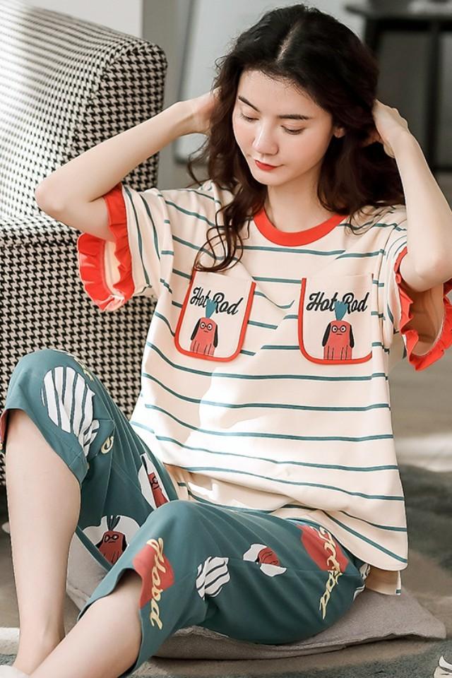 20睡衣女夏季纯棉圆领短袖七分裤薄款简约宽松韩版家居服套装