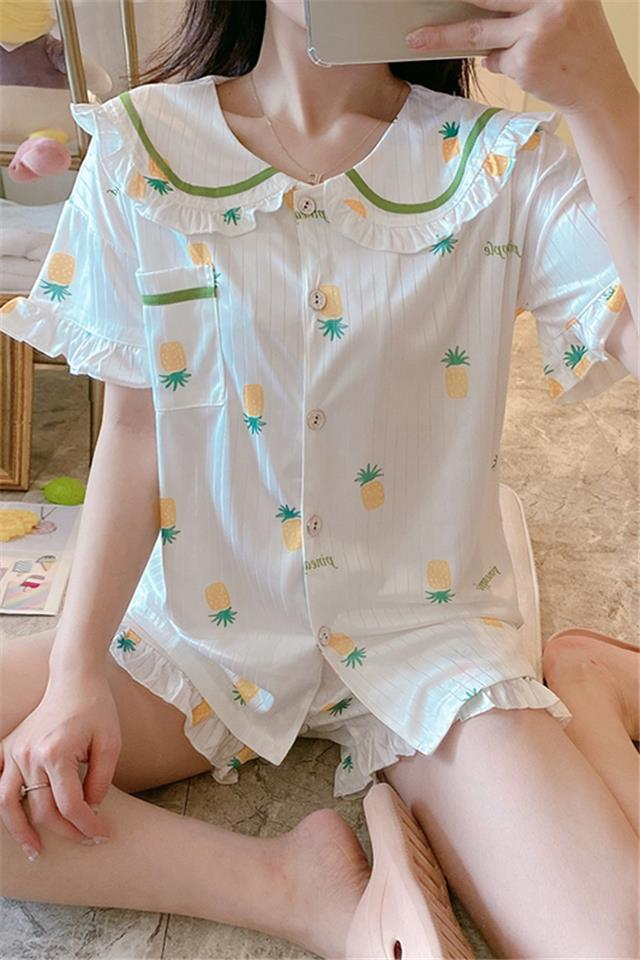 直播新款菠萝睡衣女士春秋夏季纯棉短袖两件套可爱夏天薄款家居服