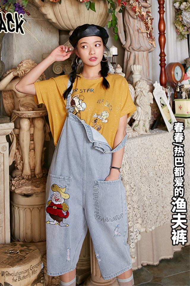 新款妖精的口袋重工背带牛仔裤女2020夏季宽松直筒显瘦七分裤