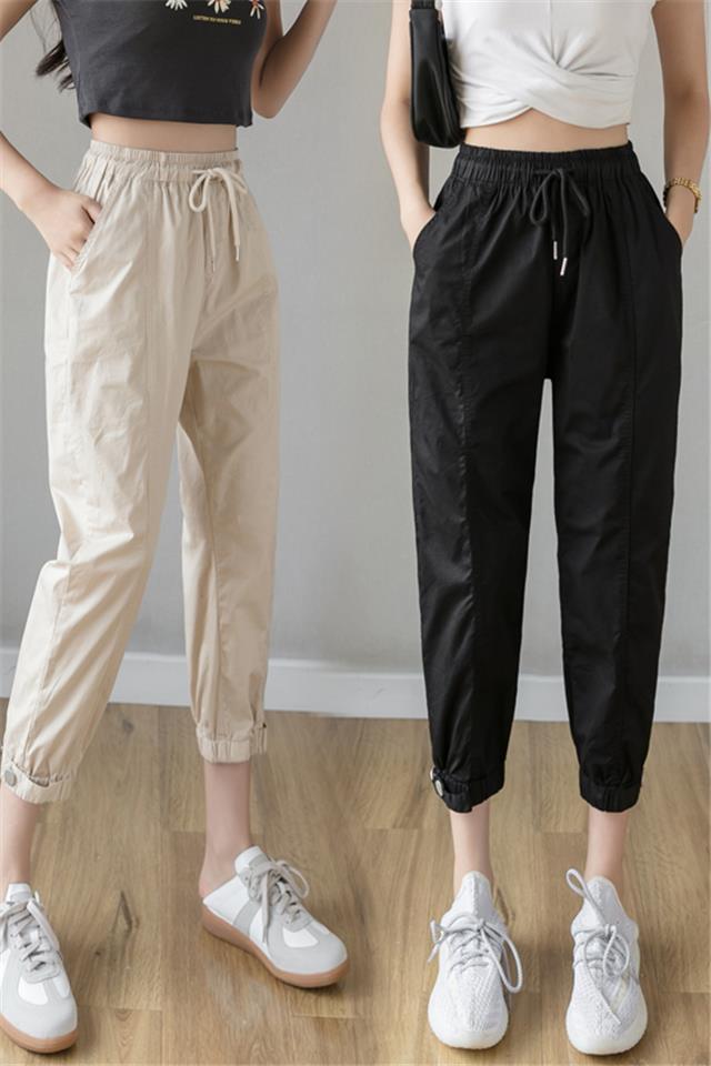七分休闲裤子女年新款春夏季百搭薄款束脚显瘦工装宽松哈伦裤