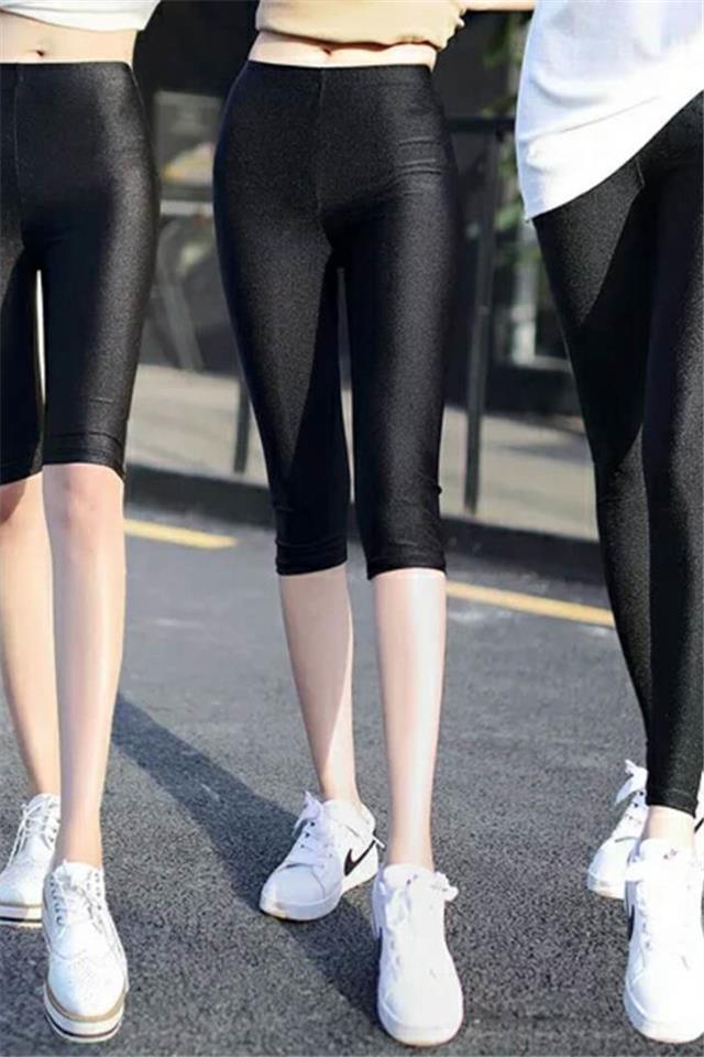 九分光泽裤女夏薄款外穿七分打底裤冰丝大码高腰弹力五分安全短裤