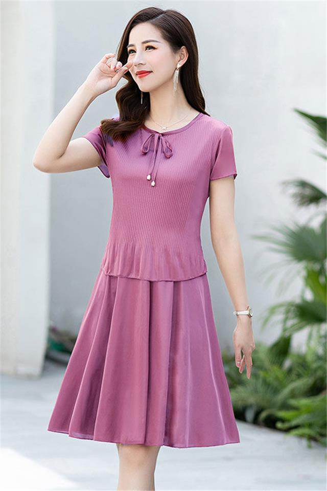 2020夏季新款连衣裙中长款修身显瘦大码女装裙子中年妈妈装