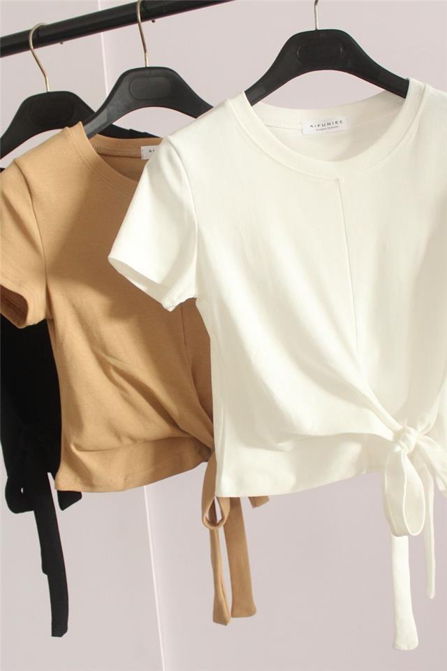 短款T恤女夏装心机绑带打结高腰短袖体桖ins潮洋气露脐紧身上衣服