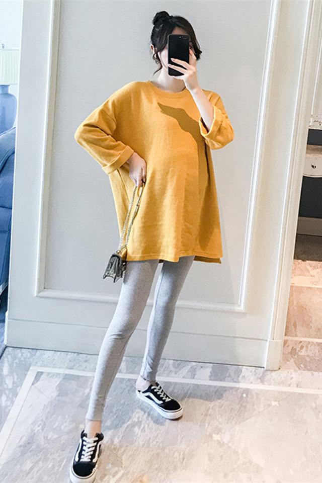 孕妇套装新款宽松大码卫衣中长款连衣裙打底裤长袖上衣时尚两件套