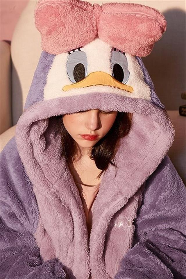 睡衣女秋冬季珊瑚绒睡袍睡衣加厚学生可爱长款加绒韩版ins天浴袍