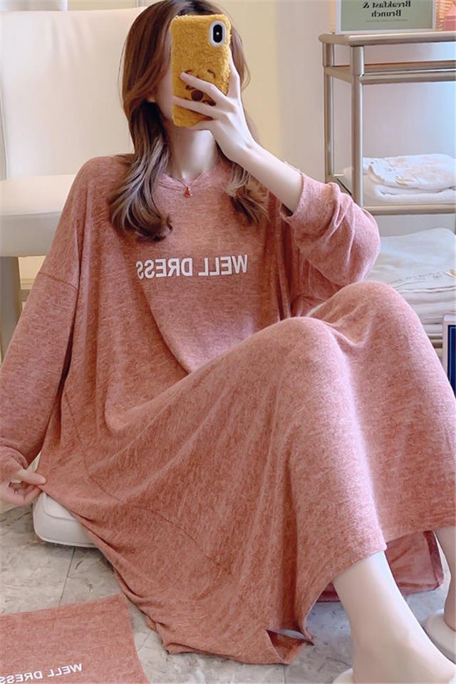 新款纯棉睡衣女长袖春秋中长款过膝睡裙女夏可外穿孕妇宽松家居服