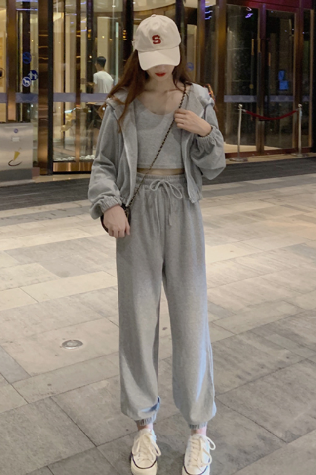 灰色运动服套装女春秋季时尚韩版炸街ins风休闲卫衣洋气三件套冬