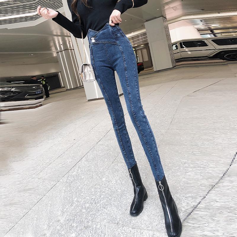 网红同款高腰牛仔裤女春秋韩版修身显瘦弹力长裤铅笔裤紧身小脚裤