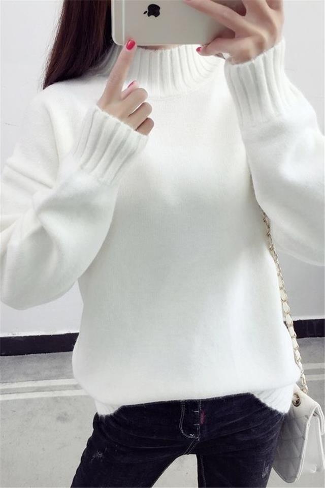 2020秋冬新款高领毛衣女纯色加绒打底衫套头修身外穿长袖针织衫