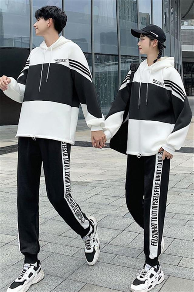 高级感情侣装秋冬装卫衣2020新款ins港风高中生学生班服气质套装