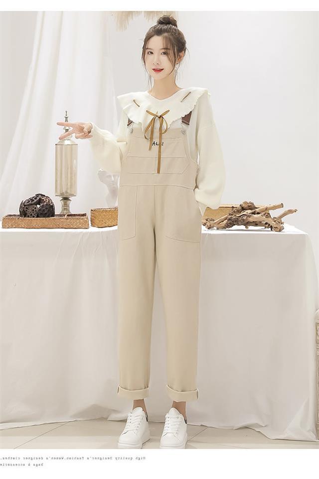 加厚大码减龄背带裤套装女秋冬季学生韩版宽松胖MM显瘦两件套