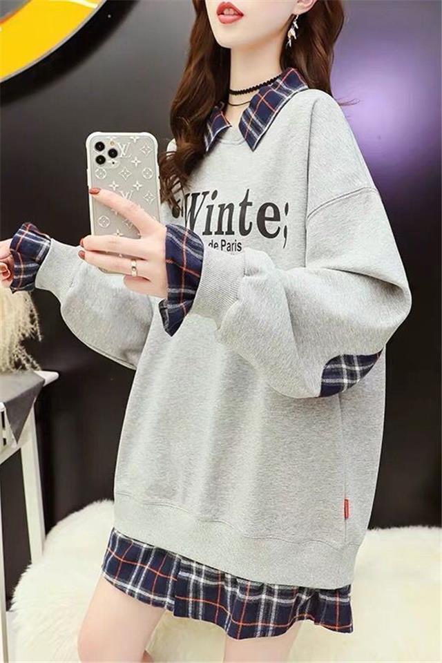 加绒假两件拼接卫衣女2020秋冬季新款韩版学生宽松显瘦长袖上衣潮10月8日发完