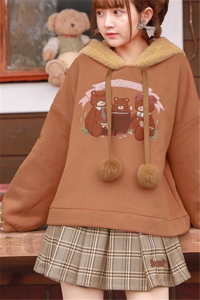 套装女秋冬季韩版新款学生宽松加绒连帽卫衣外套格子短裙两件套潮